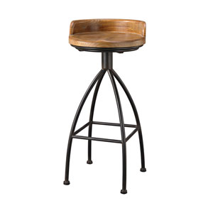 District Warm Oak Black Stool