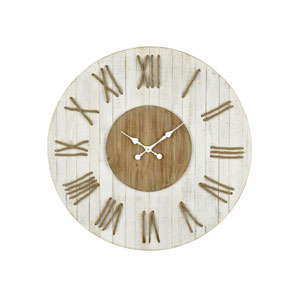 Pelican Pointe White and Natural Oak Wall Clock