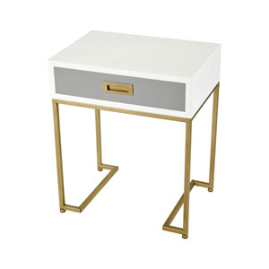 Olympus Aged Brass and Grey Accent Table