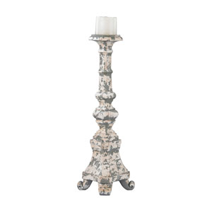 Aged Plaster Tall Candle Holder