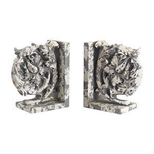 Aged Plaster Scroll Bookends, Set of Two
