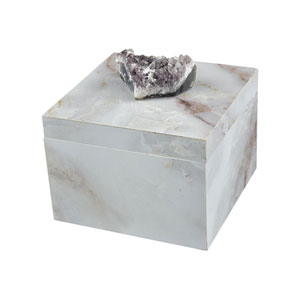 Ekaterina Grey Marble and Natural Geode Decorative Box