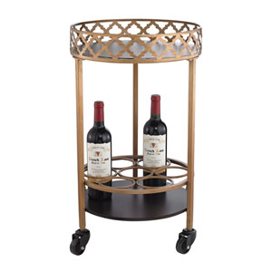 Gold Circular Quatrefoil Bar Cart