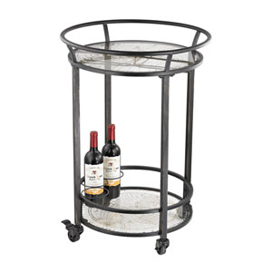 Black World Map Bar Cart