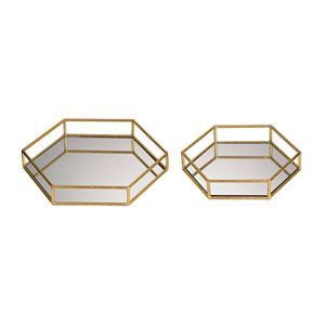 Gold Mirrored Hexagonal Trays, Set of Two