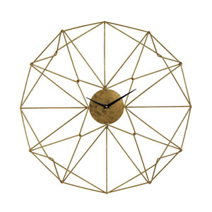 Angular Gold Wirework Wall Clock