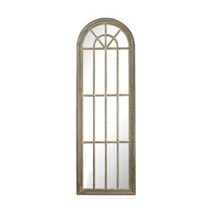Grey Whie Wash Full Length Arched Window Pane Mirror