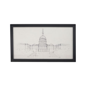 U.S Capitol Handpainted Clear White Signature Black Wall Decor