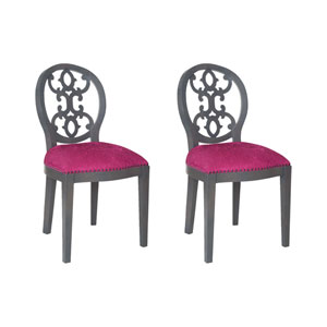 Dimple Clean Antique Smoke and Cerise Chair with Intricate Scroll Design
