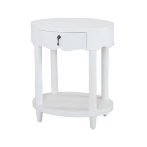 St. Kitts Natural Raffia and White Accent Table