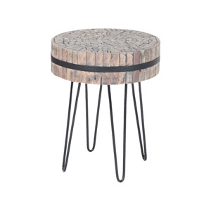 Nutela Natural Woodtone Bronze Iron Accent Table