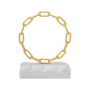 Torus Gold White Marble Sculpture