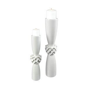 Tranquillo Gloss White Candle Holders - Set of 2
