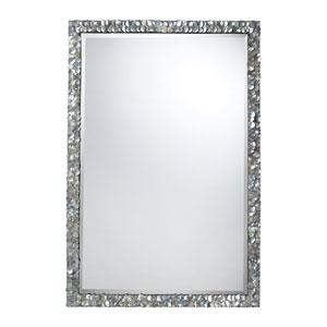 A Silver Mother of Pearl Shell Polyurethane Island Falls Mirror