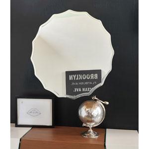 Round Scalloped Bathroom Mirror