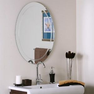 Oval Frameless Mirror with Scallop Edges