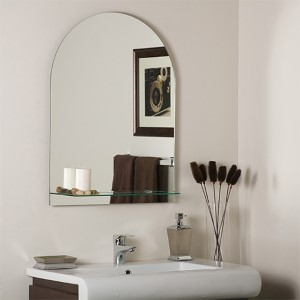 Roland Crowned Top Frameless Wall Mirror with Shelf