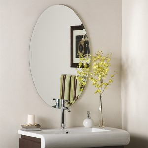 Oval Frameless Beveled Mirror