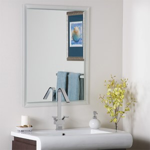 Modern Etched Border Frameless Mirror
