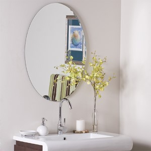 Oval Scallop Frameless Wall Mirror