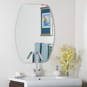 Frameless V-Groove Oval Beveled Mirror