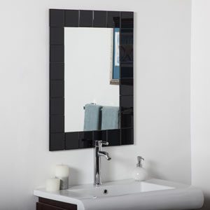 Montreal Modern Black Rectangular Beveled Bathroom Mirror