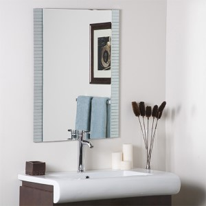 Sam Horizontal Lines Rectangular Frameless Wall Mirror