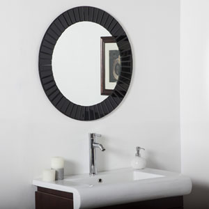 The Glow Modern Black Round Beveled Frameless Wall Mirror