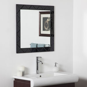 Luciano Black Square Beveled Frameless Wall Mirror