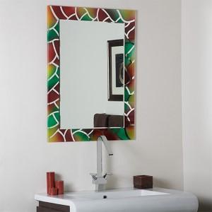 Mosaic Frameless Bathroom Mirror with Beveled Edge