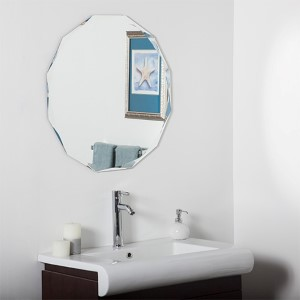 Round Diamond Beveled Frameless Wall Mirror