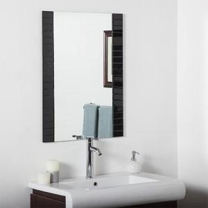 Black Rectangular Beveled Framed Bathroom Mirror
