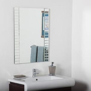 Rectangular Beveled Framed Bathroom Mirror