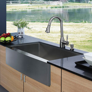 All-In-One 30 Inch Camden Stainless Steel Farmhouse Kitchen Sink Set With Aylesbury Faucet In Stainless Steel, Grid, Strainer And Soap Dispenser