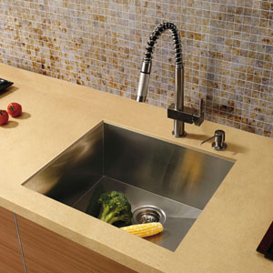 All-In-One 23 X 20 Inch Ludlow Stainless Steel Undermount Kitchen Sink Set With Lincroft Faucet, Grid, Strainer And Soap