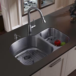 All-In-One 31 Inch Braddock Stainless Steel Double Bowl Undermount Kitchen Sink Set With Aylesbury Faucet In Stainless Steel,