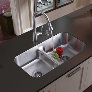Undermount Stainless Steel Kitchen Sink, Faucet, Two Strainers and Dispenser
