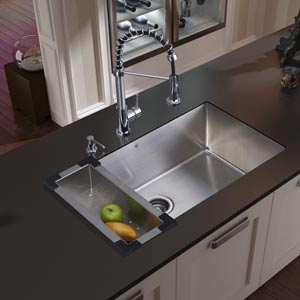 All-In-One 30 Inch Mercer Stainless Steel Undermount Kitchen Sink Set With Edison Faucet In Chrome, Colander, Strainer And Soap Dispenser