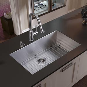 All-In-One 32 Inch Ludlow Stainless Steel Undermount Kitchen Sink Set With Astor Faucet, Grid, Strainer And Soap Dispenser
