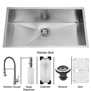 All-In-One 32 Inch Ludlow Stainless Steel Undermount Kitchen Sink Set With Edison Faucet In Chrome, Colander, Grid, Strainer