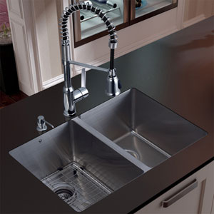 Undermount Stainless Steel Kitchen Sink, Faucet, Grid, Two Strainers and Dispenser