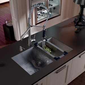 All-In-One 32 Inch Ludlow Stainless Steel Undermount Kitchen Sink Set With Zurich Faucet In Stainless Steel, Colander,