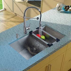 All-In-One 32 Inch Ludlow Stainless Steel Undermount Kitchen Sink Set With Edison Faucet In Chrome, Colander, Strainer And