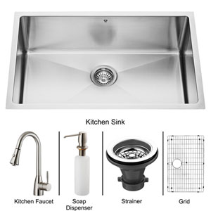 All-In-One 30 Inch Mercer Stainless Steel Undermount Kitchen Sink Set With Aylesbury Faucet In Stainless Steel, Grid, Strainer And Soap Dispenser