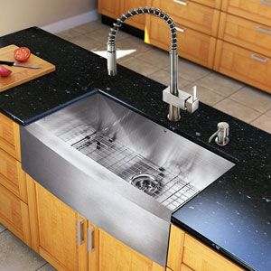 All-In-One 33-inch Camden Stainless Steel Farmhouse Kitchen Sink Set With Lincroft Faucet, Grid, Strainer And Soap Dispenser