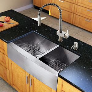 All-In-One 33-inch Chisholm Stainless Steel Double Bowl Farmhouse Kitchen Sink Set With Lincroft Faucet, Two Grids, Two