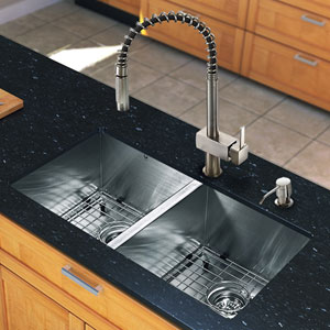 All in One 32-inch Undermount Stainless Steel Double Bowl Kitchen Sink and Faucet Set