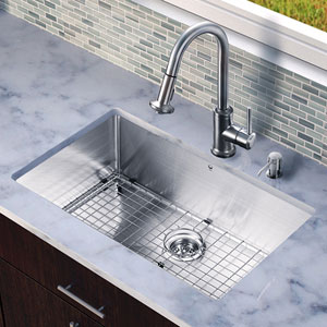 All in One 32-inch Undermount Stainless Steel Kitchen Sink and Faucet Set