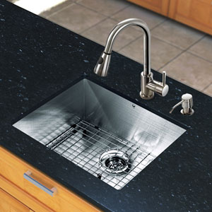 All-In-One 23 X 20 Inch Ludlow Stainless Steel Undermount Kitchen Sink Set With Weston Faucet, Grid, Strainer And Soap