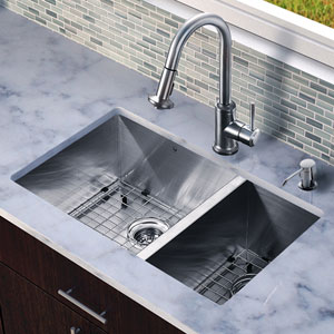 All-In-One 29-inch Endicott Stainless Steel Double Bowl Undermount Kitchen Sink Set With Astor Faucet, Two Grids, Two